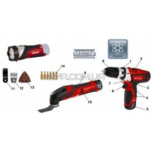 Набір шуруповерт + реноватор + ліхтарик TE-TK 12 Li Einhell (4257191)