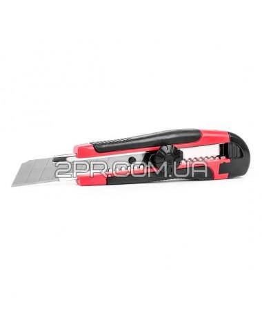 Ніж з металевими напрямними під лезо 18мм з прорезиненою ручкою HT-0503 INTERTOOL