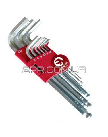 Набір Г-подібних шестигранних ключів з кулястим наконечником, 9од.,1.5-10мм, Cr-V, 55 HRC Big HT-060