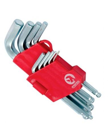 Набір ключів Г-подібних шестигранных із кулястим наконечником 9 од.