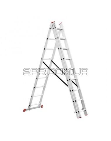 Драбина алюмінієва 3-секційна універсальна розкладна 3*9 сходинок 5.93м LT-0309 INTERTOOL