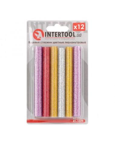 Комплект кольорових перламутрових клейових стержнів 11.2мм * 100мм, 12 шт RT-1029 INTERTOOL