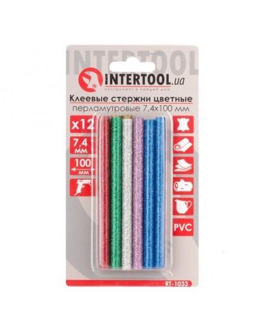 Комплект кольорових перламутрових клейових стержнів 7,4 мм * 100 мм, 12 шт RT-1033 INTERTOOL