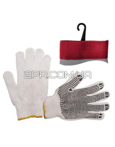 Рукавиці х/б трикотажні з точковим покриттям PVC на долоні (білі) SP-0005 INTERTOOL