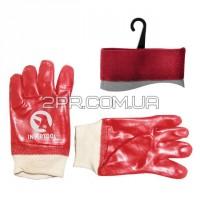 Рукавиці маслостійкі х/б трикотаж покриті PVC з в'язаним манжетом (червоні) (ящик 120пар) SP-0006W
