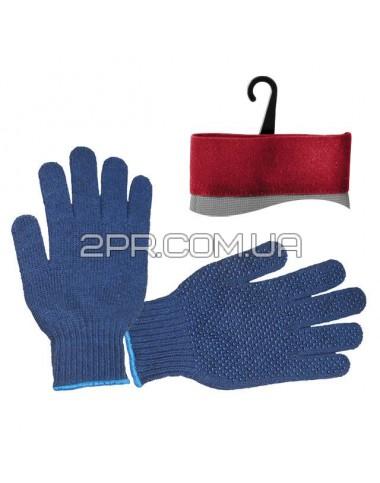 """Рукавиці трикотажні синтетичні 9"""" з покриттям PVC, з точкою на долоні (сині) SP-0104 INTERTOOL"""