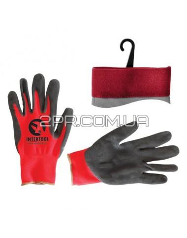 """Рукавиці червоні в'язані синтетичні, покриті сірим пористим нітрилом на долоні 10 """" SP-0127 INTERTOOL"""