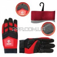 Рукавиці Microfiber тканинні червоні з чорними вставками спандекса на долоні потовщене неопренове покриття SP-0143