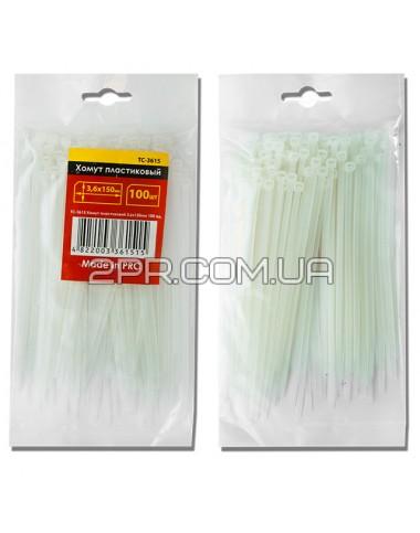 Хомут пластиковий 3,6x300мм, (100 шт/упак), білий TC-3630 INTERTOOL