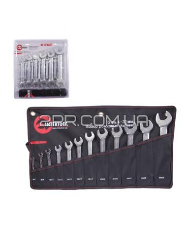 Набір ріжкових ключів 8шт. 6-22мм Cr-V, покриття сатин-хром; PROF DIN3110 XT-1102 INTERTOOL
