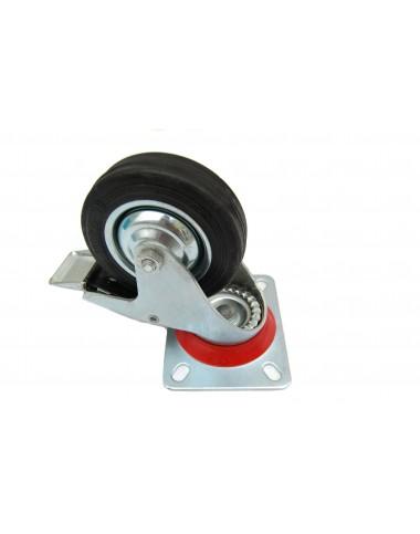 Колесо з поворотним кронштейном та гальмом   100 мм