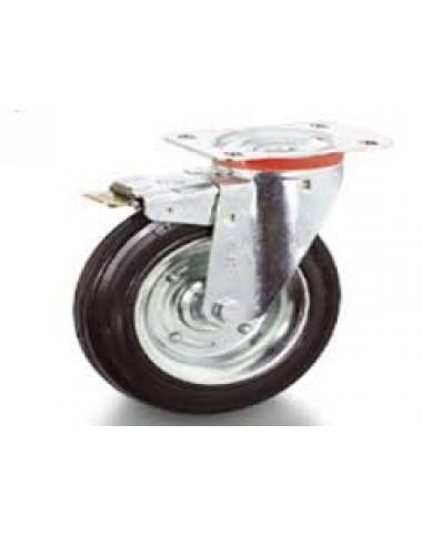 Колесо з поворотним кронштейном та гальмом   200 мм